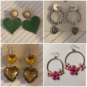 Jewelry - 4 love heart flower pink green gold earrings set